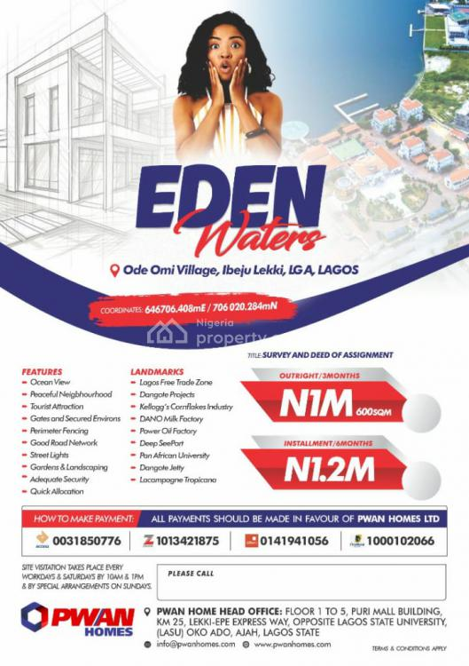an Affordable Dry Land on The Beach for That Perfect Beach House, Eden Waters, Ibeju Lekki, Lagos, Mixed-use Land for Sale