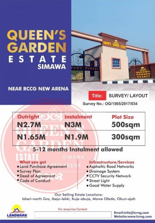 500 Square Metres of Dry Land, Queens Garden Estate, Shimawa, Sagamu, Ogun, Residential Land for Sale