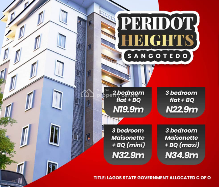 Luxury 3 Bedroom Apartment in a Beautiful Estate with C of O, Sangotedo, Ajah, Lagos, Block of Flats for Sale
