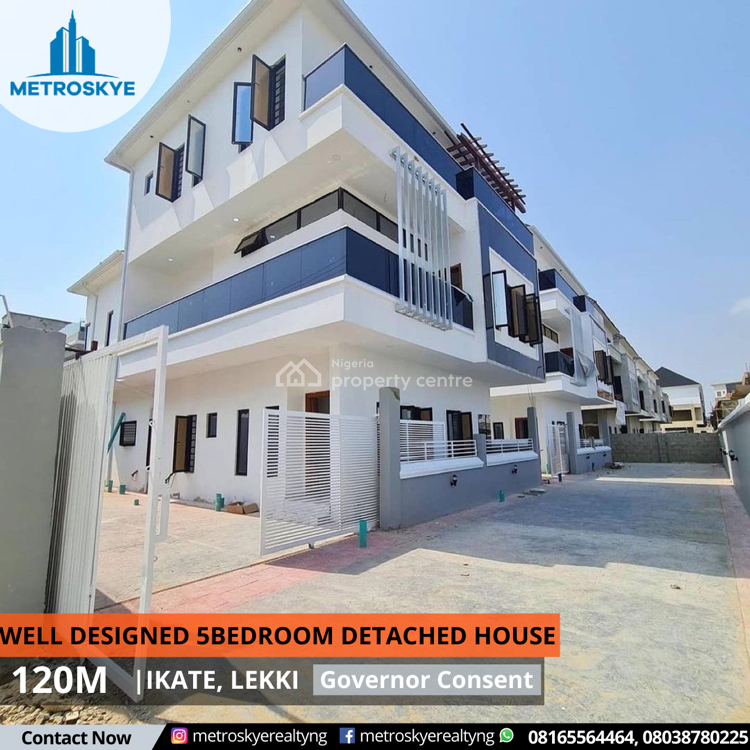 Luxury 5 Bedroom Fully Detached House Now Selling, Ikate Elegushi, Lekki, Lagos, Detached Duplex for Sale