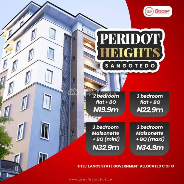 2 Bedroom Flat with Bq in Good Location, Peridot Heights, Close to Novare Shoprite, Sangotedo, Ajah, Lagos, Block of Flats for Sale