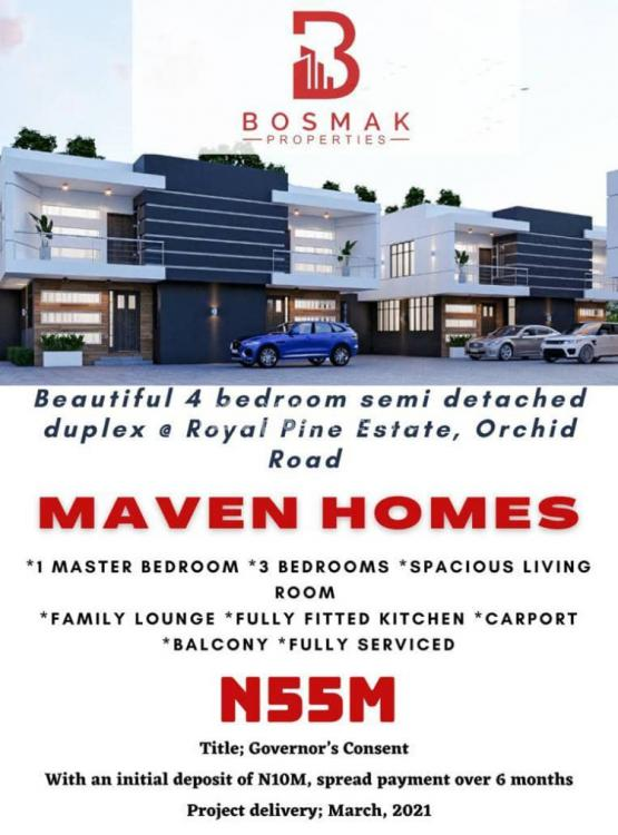 4 Bedrooms Semi Detached Duplex in Good Location, Royal Pine Estate, Orchid Road, Chevron Tollgate, Ikota, Lekki, Lagos, Semi-detached Duplex for Sale