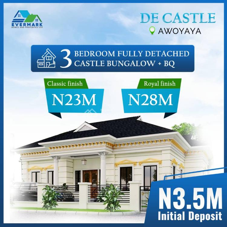 Luxury 3 Bedrooms Detached Bungalow, De Castle Estate, Oribanwa Bus-stop, Awoyaya, Ibeju Lekki, Lagos, Detached Bungalow for Sale