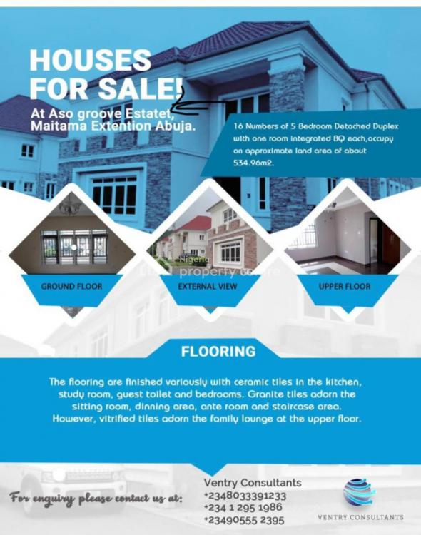 4 Units of 5 Bedroom Detached Duplex with a Bq, Also Groove Estate, Maitama Extension, Maitama District, Abuja, Detached Duplex for Sale