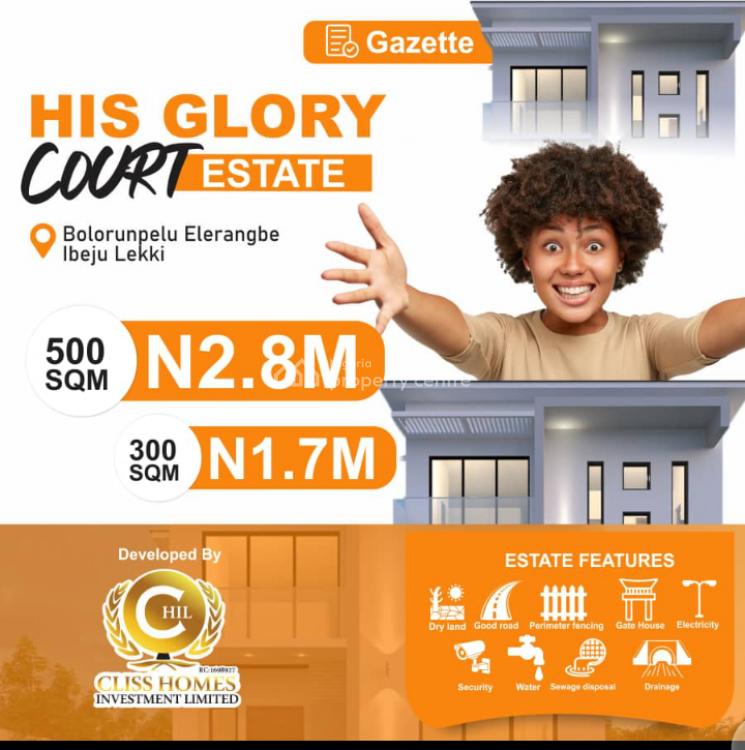 His Glory Court Estate, Eleranigbe, Ibeju Lekki, Lagos, Residential Land for Sale