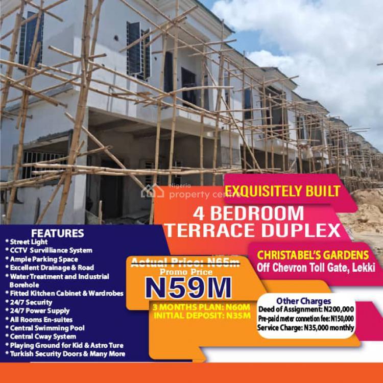Luxury 4 Bedroom Terrace Duplex at Christabels Garden., Christabels Garden Off Chevron Toll-gate., Lekki, Lagos, Terraced Duplex for Sale