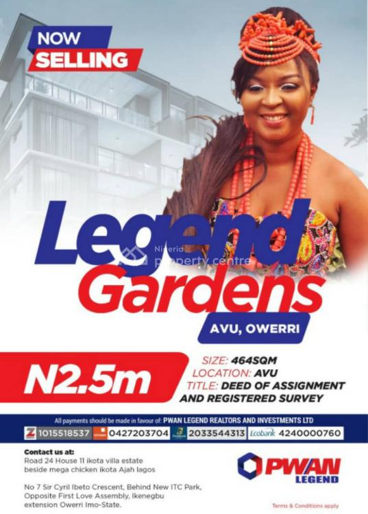 Land, Legend Gardens, Avu, Owerri West, Imo, Residential Land for Sale