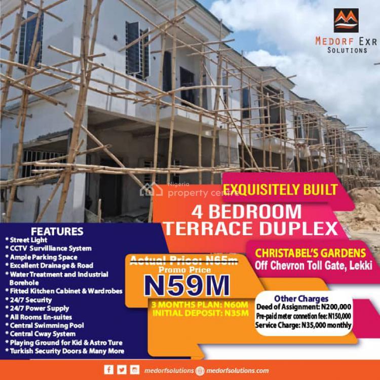 Exquisitely Built 4 Bedroom Terrace Duplex, Christabels Gardens Off Chevron Toll Gate, Lekki, Lagos, Terraced Duplex for Sale