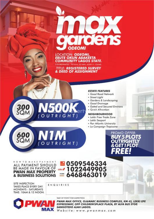 Max Gardens, Odeomi Special Offer, Odeomi, Ebute Okun Abakeeta Community, Ibeju Lekki, Lagos, Residential Land for Sale