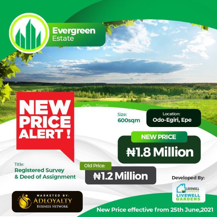 Land, Odo Egiri, Evergreen Estate, Epe, Lagos, Residential Land for Sale