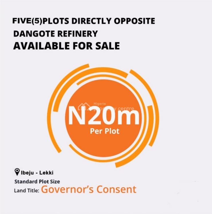 Hot Offer. 5 Plots of Dy Land, Directly Opposite Dangote Refinery, Lekki Free Trade Zone, Lekki, Lagos, Mixed-use Land for Sale