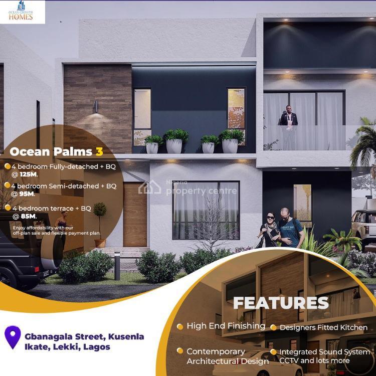 Luxury 4 Bedroom Terrace in a Developed Area, Gbangbala Street, Off Kunsela Drive, Ikate, Lekki, Lagos, Terraced Duplex for Sale