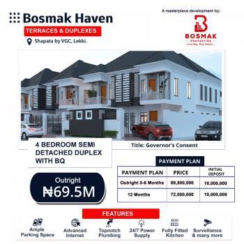 Luxury 4 Bedroom Semi Detached Duplex with Bq with Payment Plan, Bosmak Haven Beside Victoria Garden City, Vgc Lekki, Ikota, Lekki, Lagos, Semi-detached Duplex for Sale