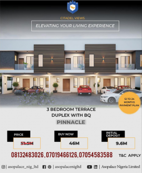 3 Bedrooms Terraced Duplex with Bq (pinnacle), Citadel Views Estate, Behind Reddington School, Olokonla, Ajah, Lagos, Terraced Duplex for Sale