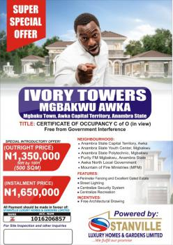 C of O Land, Ivory Towers, Mgbaku Town, Awka Capital Territory, Awka, Anambra, Residential Land for Sale