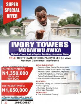 Cheapest Land, Ivory Tower, Mgbakwu, Awka, Anambra, Residential Land for Sale