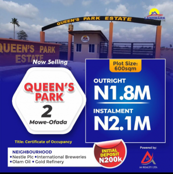Beautiful Estate, Queens Park2  Estate at Orile Imo Around International  Breweries Plc, Mowe Ofada, Ogun, Mixed-use Land for Sale