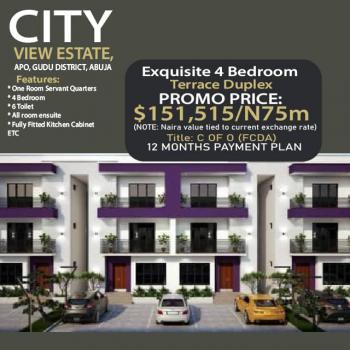 Super Exquisite 4 Bedroom Terrace Duplex with Bq, Apo, Gudu, Abuja, Terraced Duplex for Sale