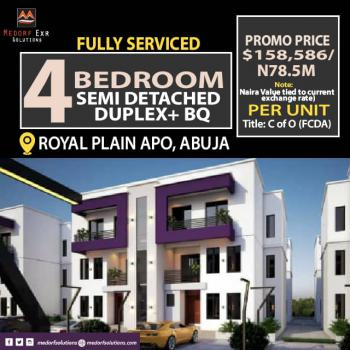 Fully Automated 4 Bedroom Semi Detached Duplex with a Bq, Royal Plain, Apo, Abuja, Semi-detached Duplex for Sale