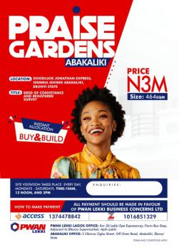 Buy a Plot of Land, Godluck Jonathan Express, Idembia Ishieke in Praise Gargens, Abakaliki, Ebonyi, Mixed-use Land for Sale