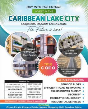 Land with C of O By The Beach Lake, Caribbean Lake City , Opposite Crown Estate., Sangotedo, Ajah, Lagos, Residential Land for Sale