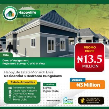 3 Bedroom Fully Detached Bungalow, Happy Life Estate, Opposite Christopher University, Mowe Town, Ogun, Detached Bungalow for Sale