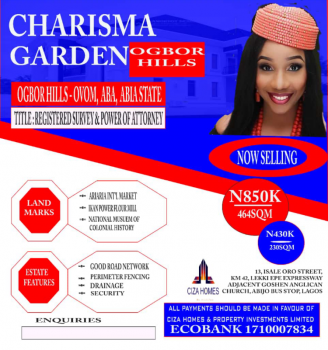 Govt Approved Land in Strategic Location, Charisma Garden Estate Ogbor Hill Ovom, Aba, Abia, Mixed-use Land for Sale