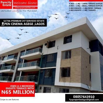 3 Bedroom Ensuite Flat with Bq, Pen Cinema, Agege, Lagos, Block of Flats for Sale