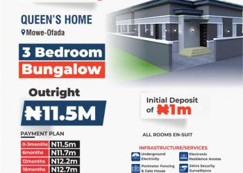 3 Bedroom Bungalow with 18 Months Payment Plan, Few Minutes From From Nestle Plc and International Breweries, Mowe Ofada, Ogun, Semi-detached Bungalow for Sale