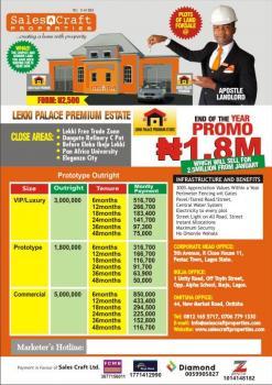 Plot Of Land In Lekki With Excision At Lekki Palace Premium Estate., Orimedu, Ibeju Lekki, Lagos, Residential Land for Sale