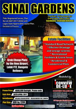 Cheapest Genuine Dry Plot in Ibeju-lekki. Sinai Gardens By Ibeju-lekki. Excision in Progress, Ibeju Lekki, Lagos, Mixed-use Land for Sale