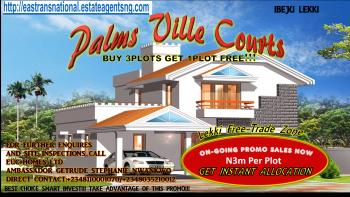 Hott Fast Promo Sales!!! Buy 3plots Get 1plot Free!!! Palmsville Courts @ N3m per Plot, Located Along The Lekki Free-trade Zone Major Coastal Express Road, Orimedu, Ibeju Lekki, Lagos, Mixed-use Land for Sale