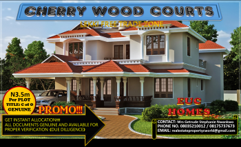 Outstanding Masterpiece with Global C of O! Lagoon Front Cherrywood Courts @ N3.5m per Plot, Located on Cherrywood Drive, Lekki Free Trade Zone, Lekki, Lagos, Mixed-use Land for Sale