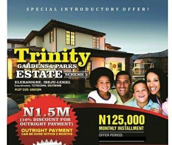 Plots of Land, Trinity Gardens Estate Phase 2, Eleranigbe By New Lagos International Airport, Ibeju, Lagos, Residential Land for Sale