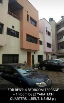 4 Bedroom Terrace + Bq, Yaba Tech Quarters, Sabo, Yaba, Lagos, Terraced Duplex for Rent