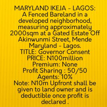 Jv Land for Residential Development, Akinwummi Street, Mende, Maryland, Lagos, Residential Land Joint Venture