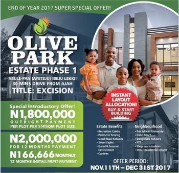 Olive Park Estate Phase 2,5 Min Drive Off Lekki Epe Expressway, Ayeteju Town, Eluju, Ibeju Lekki, Lagos, Residential Land for Sale