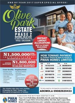 Olive Park Estate 2 with Excision @500k, Elerangbe Area, Eputu, Ibeju Lekki, Lagos, Mixed-use Land for Sale