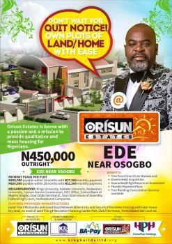 Orisun Estate, Ede Osogbo, Ede South, Osun, Residential Land for Sale