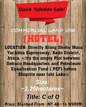 a Strategically Located Commercial (hotel)  Land Measuring 2.25 Hectares, Close to Jabi Lake/shoprite, in Between Setraco Headquarters and Petroleum Equalization Fund ( Pef), Kado, Abuja, Commercial Land for Sale