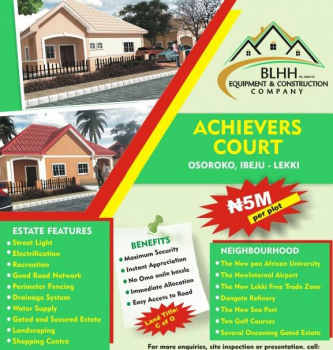 Residential Plots of Land, Achievers Court, Oshoroko, 5 Mins Drive From Dangote Refinery, Ibeju Lekki, Lagos, Residential Land for Sale