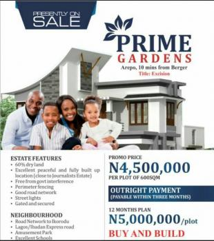 600sqm in Prime Garden Estate Arepo for 4.5m, Prime Gardens, Berger, Arepo, Ogun, Residential Land for Sale