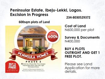 Peninsular Homes 2. Buy 6, Get 1 Free, Peninsular Homes 2, Akodo-ise Road, Akodo Ise, Ibeju Lekki, Lagos, Residential Land for Sale