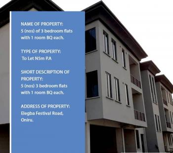 3 Bedroom Flats with 1 Room Bq Each, Elegba Festival Road, Oniru, Victoria Island (vi), Lagos, Flat for Rent