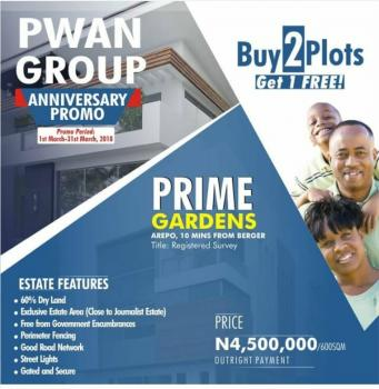Prime Gardens,arepo 3min From Berger..buy 2 and Get One Free, Arepo Town, Onigbongbo, Maryland, Lagos, Residential Land for Sale