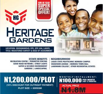 Dry Plots of Land, Heritage Garden,  Odogbawojo, Epe, Lagos, Residential Land for Sale