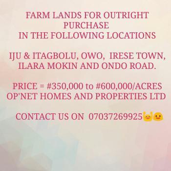 Farm Lands, Owo, Iju, Akure, Ondo, Mixed-use Land for Sale