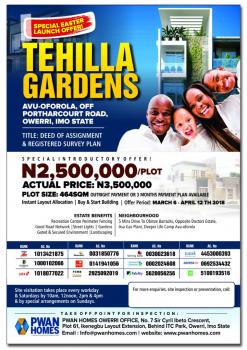 Land, Tehilla Gardens, Avu-oforola, Off Port Hacourt Road, Owerri, Owerri, Imo, Land for Sale