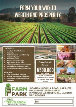 Invest in Farm Park, Igbonla Road, Ilara, Epe, Lagos, Industrial Land for Sale