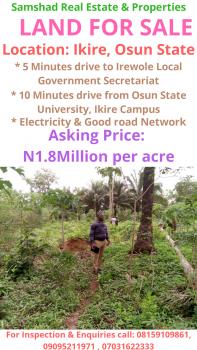 Land, Behind Irewole Local Government Secretariat, Off Ife - Ibadan Express Way, Ikire, Irewole, Osun, Mixed-use Land for Sale